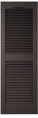 Builders Edge 010140043002 Pair Of 15 x 43-Inch Black Louvered Shutters - Quantity 1