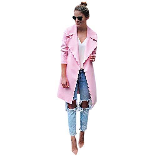 75325233d SODIAL Women Fashion Sweet Wavy Edge Design Lapel Long Cardigan Coat Jacket  Ladies Elegant Pink Long