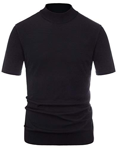 (Men's Lightweight Short Sleeve Turtleneck Sweater Mock Neck Pullover Sweater Tops Black, Size XXL)