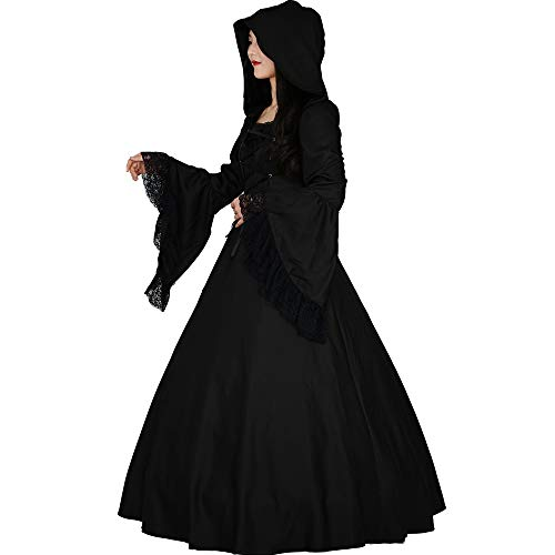 I-Youth Women's Witch Vampire Costume Medieval Renaissance Victorian Gothic Hooded Dress for Halloween Coaplay