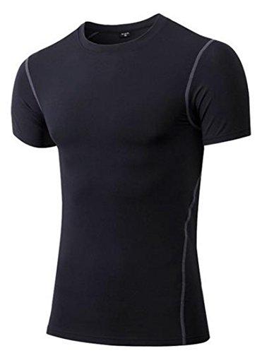 KXP Mens Running Base Layer Short Sleeve Top Compression Shirts Black X-Small by KXP