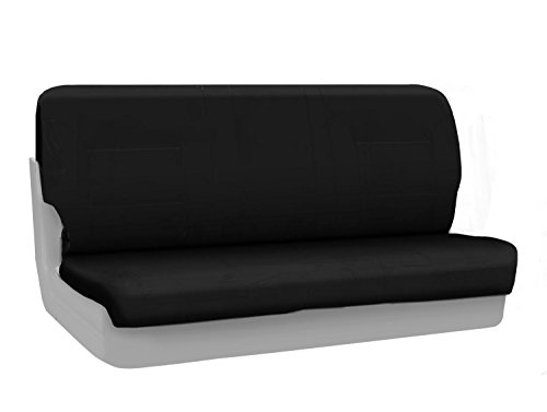 Coverking Custom Fit Front Solid Bench Seat Cover for Select Ford F-Series Models - Ballistic (Black)