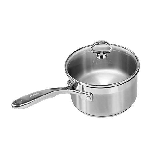 Chantal SLIN35-162 Induction 21 Steel Sauce Pan with Glass Tempered Lid (2-Quart) ()