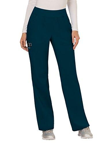 CHEROKEE Women's Mid Rise Straight Leg Pull-on Pant, Caribbean Blue, Large Petite
