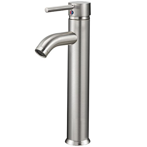 Vessel Brushed Nickel Bathroom Sink Faucet One Hole/Handle Mixer Tap ()