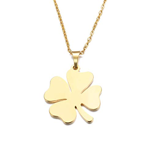 Bergort Stainless Steel Necklace for Women Men Lover's Clover Gold and Silver Color Pendant Necklace Engagement Jewelry (Christophers Red Clover)