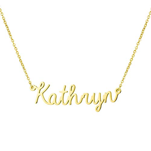 Yiyang Friendship Necklaces Personalized Name Necklace 18K Gold Plated Stainless Steel Jewelry Birthday Gift for Girls Kathryn