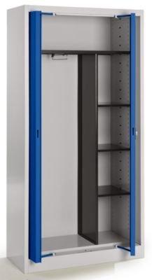 Mauser Stahlschrank mit Einschwenktüren - Garderobe, 3 kurze Fachböden, Tiefe 420 mm lichtgrau / ultramarinblau - Aktenschrank Archivierschrank Archivierschränke Büroschrank Einschwenktürenschrank Einschwenktürenschränke Einschwenktürschrank