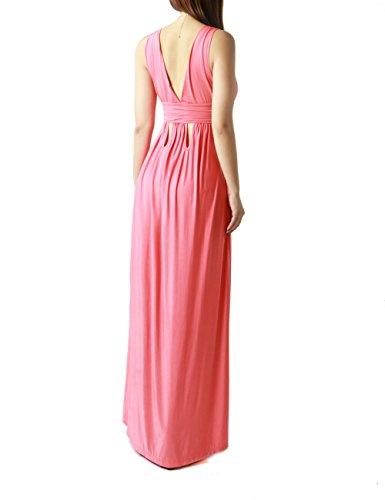 Women's Elegant and Sexy Sleeveless Long Dress (LARGE, PINK-JP1127)