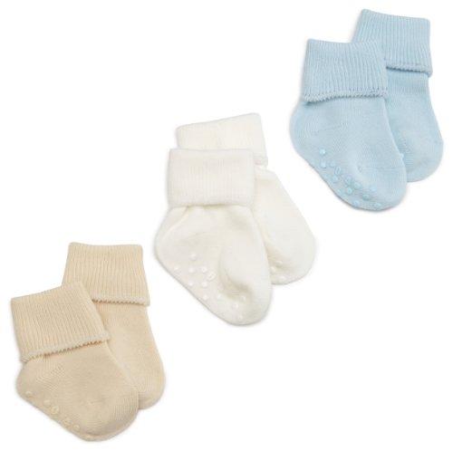 Jefferies Socks Organic Cotton Turn Cuff Sock, 3 Pack, Light Blue/Natural/White, 12-24 Months