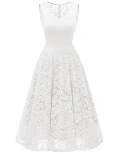 Meetjen Women's Cocktail V-Neck Dress Floral Lace Tea-Length Bridesmaid Party Dress Midi White 2XL