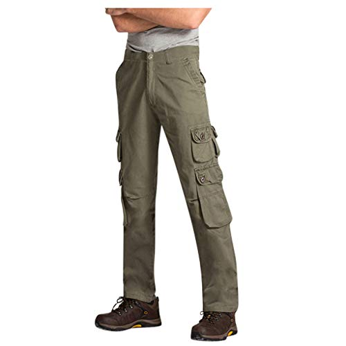 Price comparison product image hositor Mens Work Pants,  Summer Fashion Mid-Rise Men's Longs Loose Casual Multi-Pocket Tooling Pants ArmyGreen