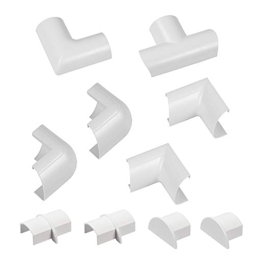(D-Line Cable Raceway Clip-Over Accessories | Join Multiple Channels of D-Line Cord Covers | Coupler and Connector Multipack | White (Mini)