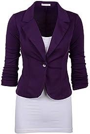 Elonglin Women's Lapel Blazer Casual Open Front Work Office Jacket Suit Bl