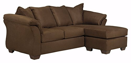 - Ashley Furniture Signature Design - Darcy Contemporary Microfiber Sofa Chaise - Café
