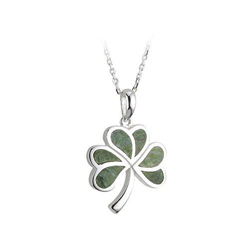 (Biddy Murphy Sterling Silver Shamrock Necklace Connemara Marble Pendant 18 Inch Heavy Chain Made in Ireland)
