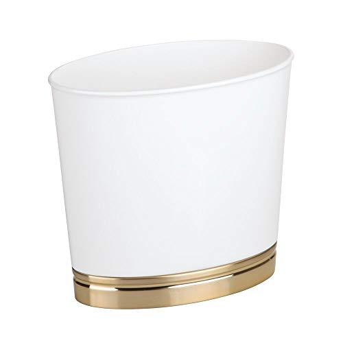 corative Plastic Small Trash Can Wastebasket, Garbage Container Bin for Bathrooms, Kitchens, Home Offices, Dorm Rooms - White/Soft Brass ()