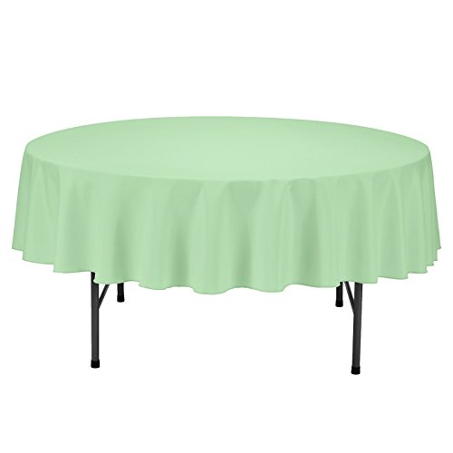 VEEYOO Round Tablecloth 100% Polyester Circular Bridal Shower Table Cloth - Solid Soft Dinner Table Cover for Wedding Party Restaurant (Mint Green, 70 inch)]()
