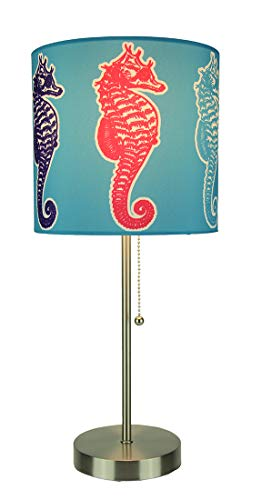 Finish Table Lamps Multi Color - Brushed Nickel Finish Coastal Table Lamp With Multicolor Seahorse Shade