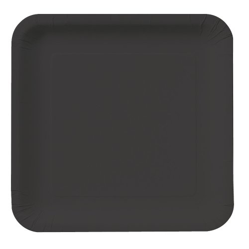 Creative Converting Touch of Color 18 Count Square Paper Dinner Plates, Black Velvet ()