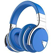COWIN E7 Wireless Bluetooth Headphones with Mic Hi-Fi Deep Bass Wireless Headphones Over Ear, Comfortable Protein Earpads, 30 Hours Playtime for Travel Work TV Computer Phone - Blue