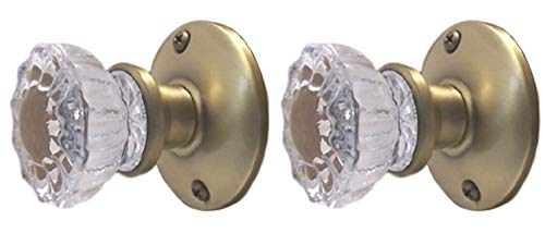 Rousso's Reproductions Crystal Fluted Glass French Door Knob Set for Any Solid Surface as Dummy or Faux Knobs with All Hardware to Install on One Side of Two French Doors (Antique Brass)