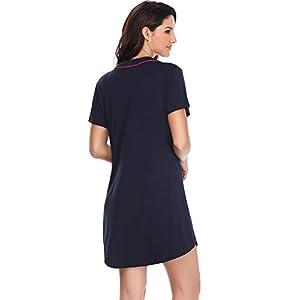 16340ade396 Lusofie Nightgowns Women Sexy Boyfriend Sleep Shirts V-Neck V-Neck  Nightshirts Button Down Sleepwear USATYN1000375