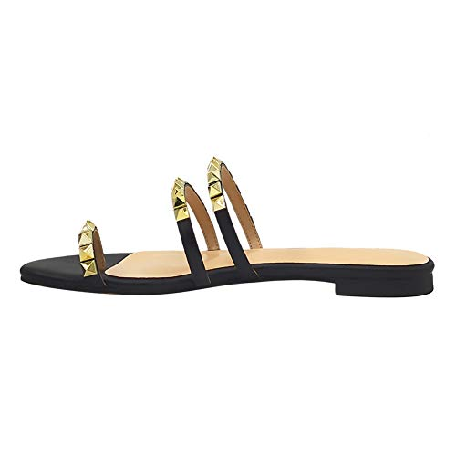 VOCOSI Women's Flat Heel Sandals with Rivets Slide Slipper Dress for Casual Summer Black with Toe Ring 12 - Toe Black Ring