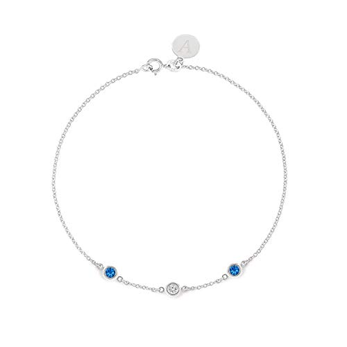 TousiAttar Blue Sapphire Diamond Bracelet - Bezel set - Solid 14K or 18K Gold - Natural Stone - Elegant Jewelry Gift for Girls- Delicate April and September Birthstones - Free Engraving