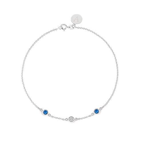 (TousiAttar Blue Sapphire Diamond Bracelet - Bezel set - Solid 14K or 18K Gold - Natural Stone - Elegant Jewelry Gift for Girls- Delicate April and September Birthstones - Free Engraving)
