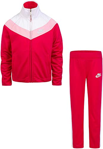 Nike Little Girls` Therma-Fit Full Zip Hoodie & Jogging Pants 2 Piece Set (Rush Punk(36E156-A4Y)/White/Pink, 18 Months) - Full Rush Zip Hoody