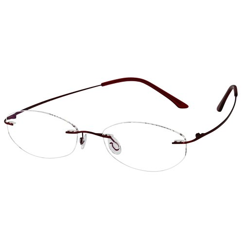EyeBuyExpress Titanium Rimless Oval Burgundy Reading Glasses Magnification Strength - Custom Glasses Made Prescription