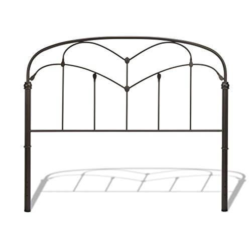 Leggett & Platt Pomona Metal Headboard Panel with Curved Grills and Detailed Posts, Hazelnut Finish, Twin