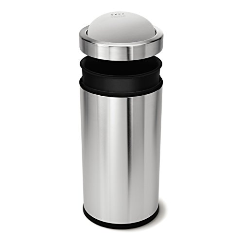 simplehuman Swing Top Trash Can, Commercial Grade, Stainless Steel, 55 L / 14.5 Gal