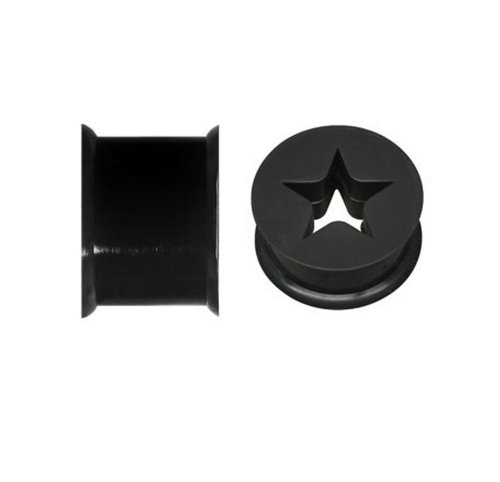 l Silicone Black Flexible 0G (8mm) Plugs 2PC Pieces (Star Tunnel)