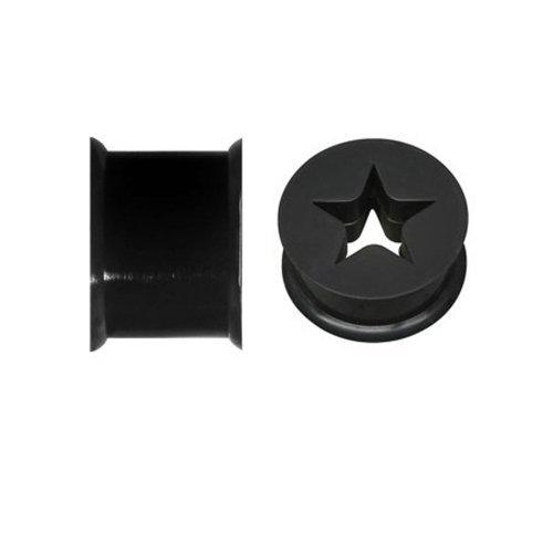 Silicone Tunnel Flexible Black (BodyJ4You Star Tunnel Silicone Black Flexible 0G (8mm) Plugs 2PC Pieces)