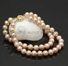 Row Pink Freshwater Pearls (Real natural 2 rows 8-9MM Pink Freshwater Pearl Bracelet 7.5