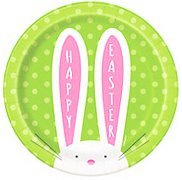 Cute Green Easter Dessert 7 Paper Plates with Long-Eared Easter Bunny and Poka Dot Design Party Supplies Tableware Supplies Disposable Easter Supplies 2-8pk 16ct Easter Sixteen