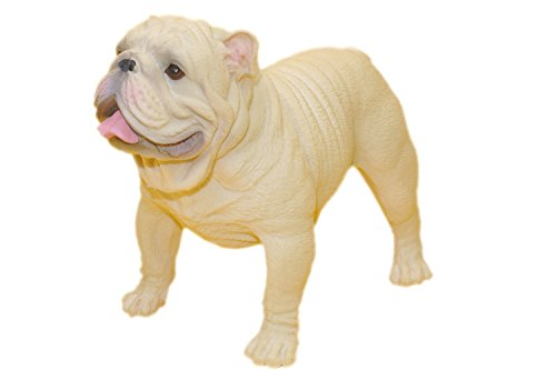 AITING American bully pitbull Bulldog Sculpture Pet Portrait Dog Statue Memorial Car decoration (Bulldog white)