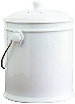 Natural Home para hormigón Cerámica cubo de basura para abono con ...