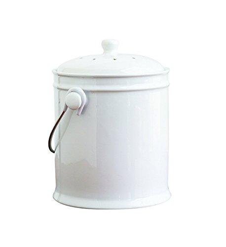 Natural Home 1-Gallon Ceramic Compost Bin with Bonus 2 Filters & 20 Compost Bags
