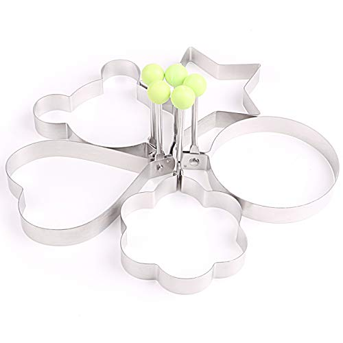 Egg Ring, Stainless Steel Egg Pancake Mold Ring Creative Breakfast 5 Piece Set Round Heart Shape Flower Shape Pentagram And Mickey Mouse Egg Rings
