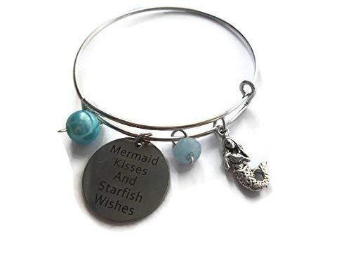 Mermaid Charm Bangle Bracelet For Women Blue Aventurine Gemstone Adjustable Quote Jewelry