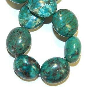 T1520fe Green Turquoise 21mm Polished Puffed Flat Oval Gemstone Beads 8