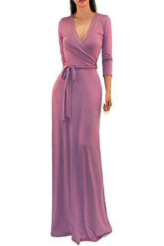 Vivicastle Women's Solid V-Neck 3/4 Sleeve Faux Wrap Waist Long Maxi Dress (Large, - Dress Wrap Maternity Jersey