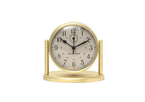 Crosley Nautical Alarm Clock for Desk Side Table and Night Stand, All Metal Case with Dome Glass Lens, Adjustable Viewing Angle, Simple Operating Controls, Brass