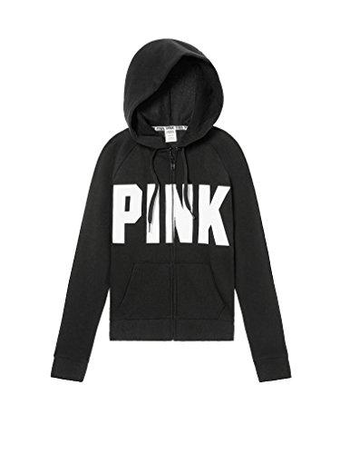 Die Zip Hoodie - Victoria's Secret Pink Full Zip Hoodie Sweatshirt Black -Small
