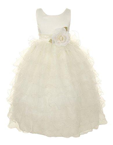 Cinderella Couture Big Girls' Organza Ruffled Tea Length Dress 12 Ivory 1160