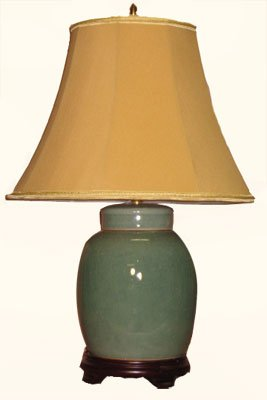 oriental furnishings 14 inch tall celadon radish jar asian table lamp. Black Bedroom Furniture Sets. Home Design Ideas