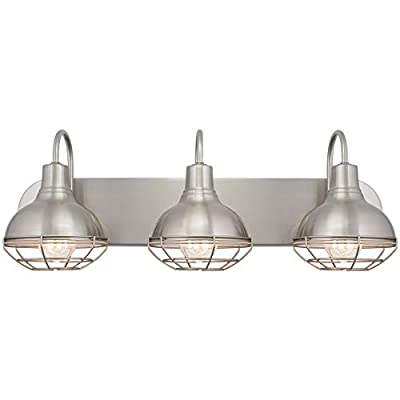 """Kira Home Liberty 24"""" 3-Light Modern Industrial Vanity/Bathroom Light, Brushed Nickel Finish - FARMHOUSE STYLE: Well constructed 3-light vanity provides a rustic vibe to any home. Featuring a brushed nickel finish and a caged design with white inner shades. This versatile light evokes a quaint feel that can be installed with or without cages GREAT FIT ANYWHERE: Mount this easy-to-install fixture in several areas and decor. Perfect to mount on top of your bathroom mirror, above your vanity table, under a covered patio or porch, or above a kitchen sink. Dimmer compatible ETL LISTED FOR YOUR SAFETY: ETL listed for damp locations. Uses (3) LED, CFL, or up to 60W traditional incandescent medium base bulbs. Bulb sold separately - bathroom-lights, bathroom-fixtures-hardware, bathroom - 31e6ePUq3zL. SS400  -"""